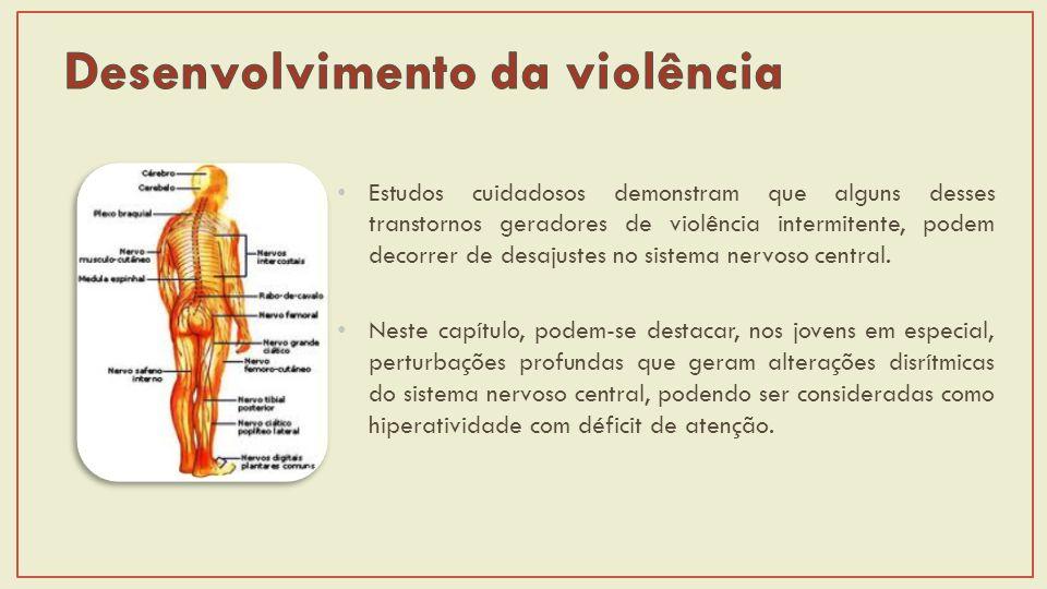 Estudos cuidadosos demonstram que alguns desses transtornos geradores de violência intermitente, podem decorrer de desajustes no sistema nervoso central.