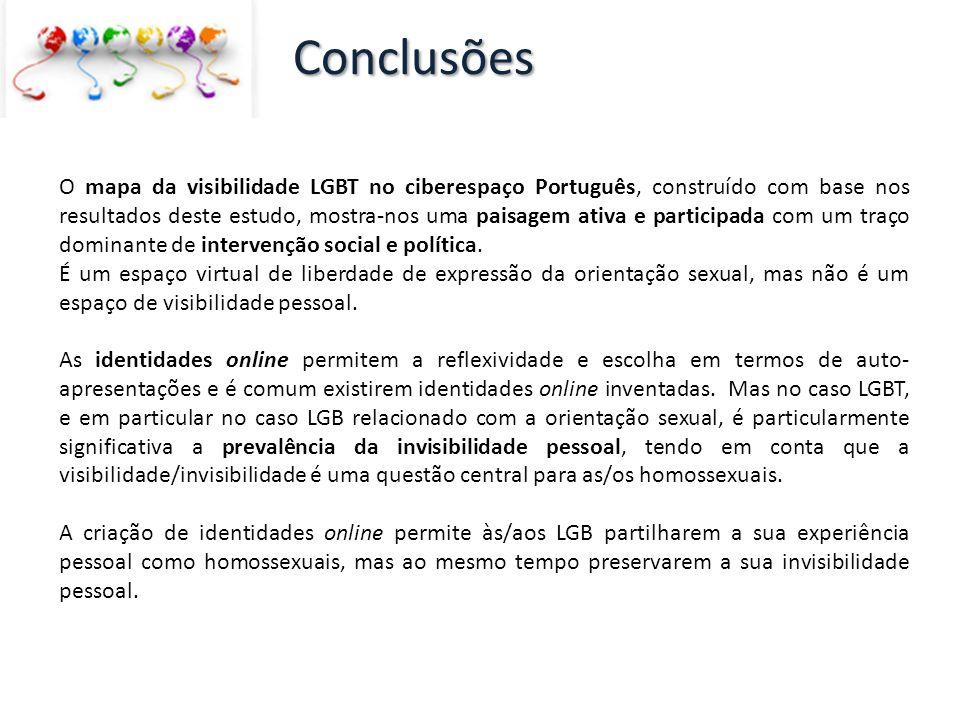 O mapa da visibilidade LGBT no ciberespaço Português, construído com base nos resultados deste estudo, mostra-nos uma paisagem ativa e participada com