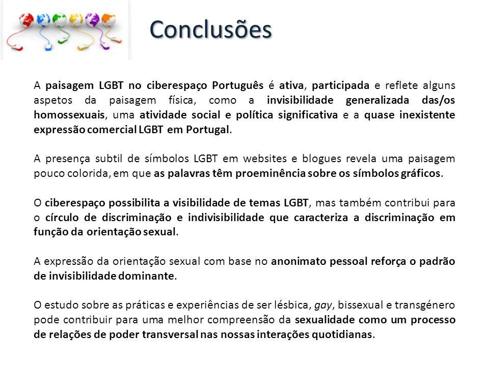 A paisagem LGBT no ciberespaço Português é ativa, participada e reflete alguns aspetos da paisagem física, como a invisibilidade generalizada das/os h