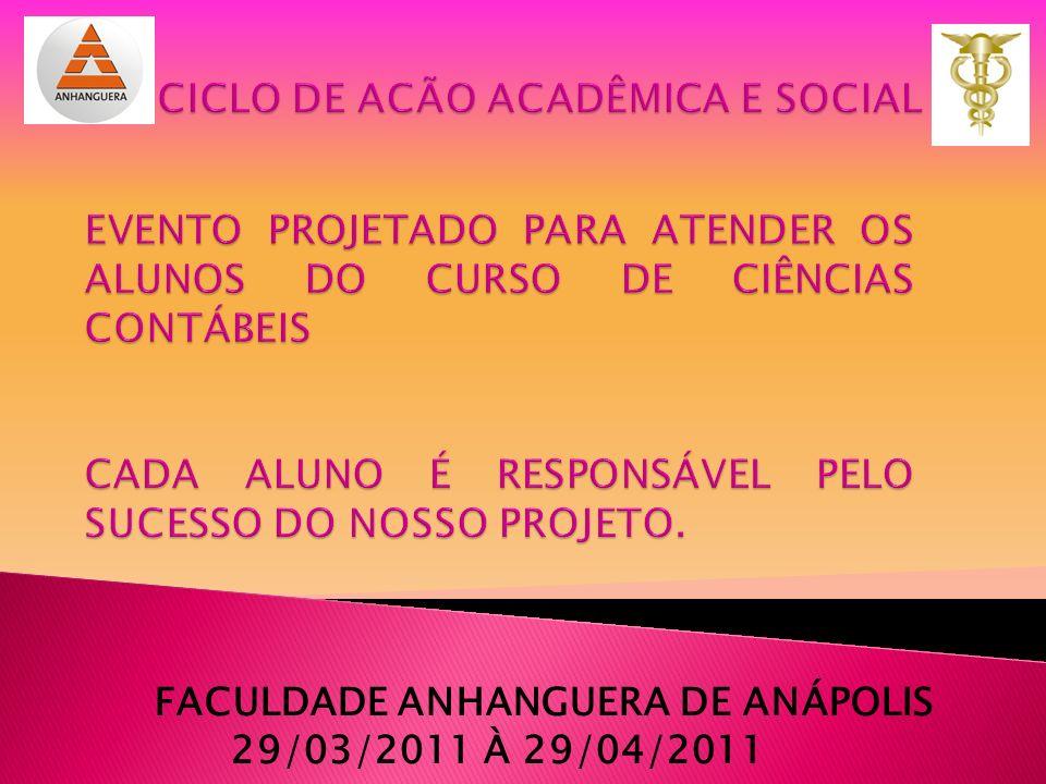FACULDADE ANHANGUERA DE ANÁPOLIS 29/03/2011 À 29/04/2011