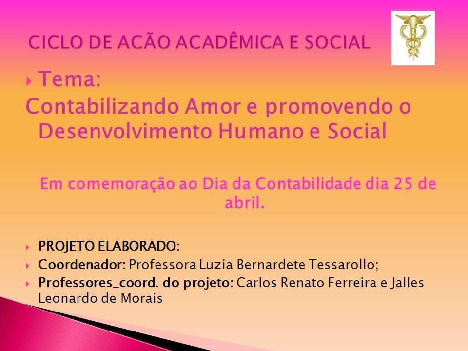 Tema: Contabilizando Amor e promovendo o Desenvolvimento Humano e Social Em comemoração ao Dia da Contabilidade dia 25 de abril. PROJETO ELABORADO: Co
