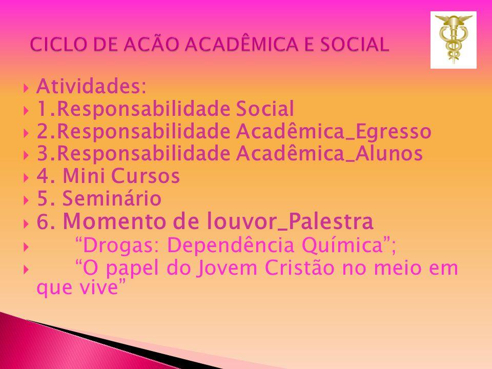 Atividades: 1.Responsabilidade Social 2.Responsabilidade Acadêmica_Egresso 3.Responsabilidade Acadêmica_Alunos 4. Mini Cursos 5. Seminário 6. Momento