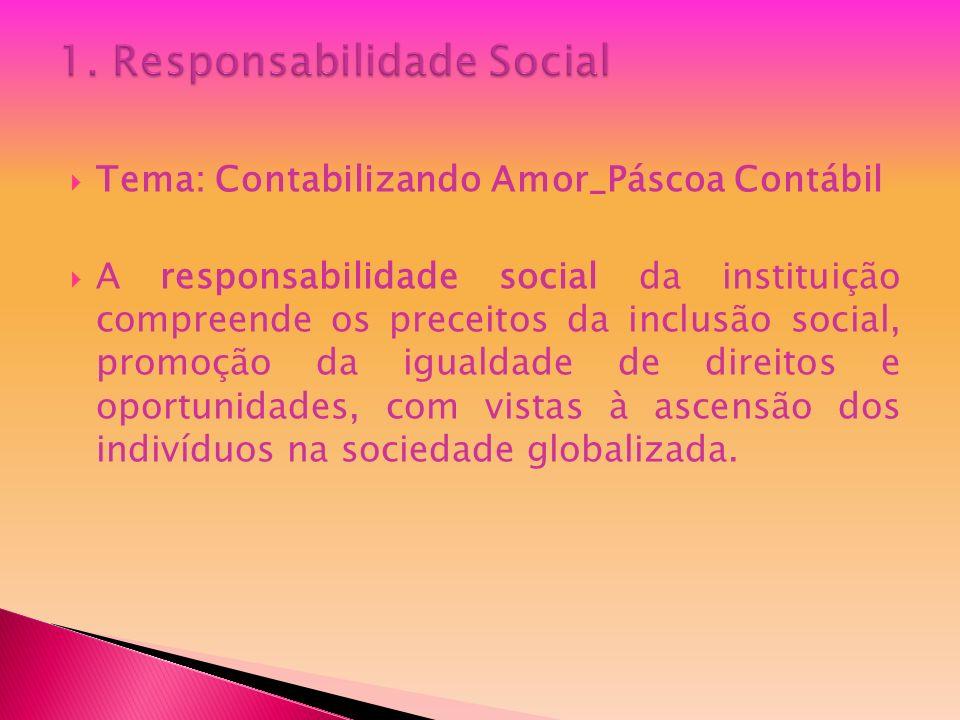 Tema: Contabilizando Amor_Páscoa Contábil A responsabilidade social da instituição compreende os preceitos da inclusão social, promoção da igualdade d