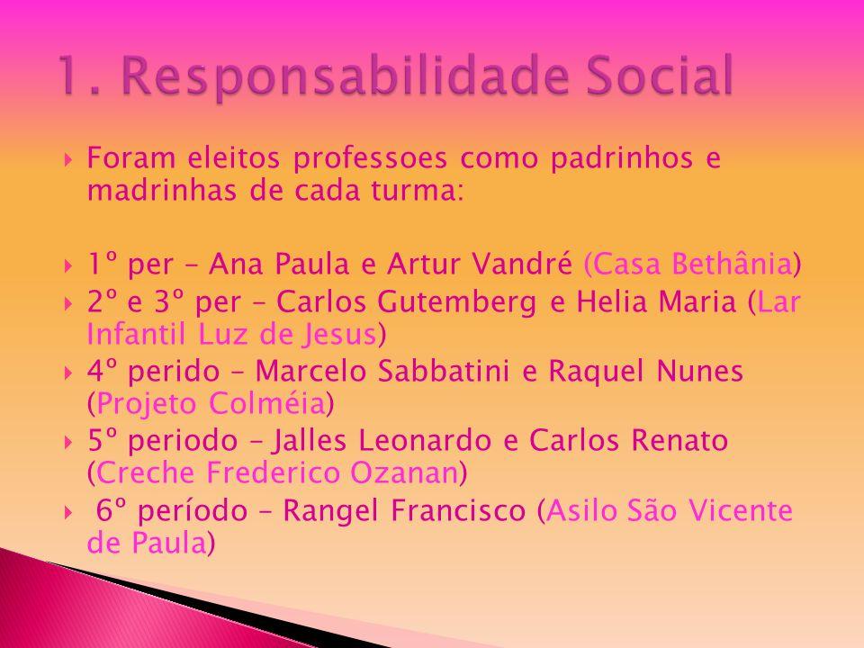Foram eleitos professoes como padrinhos e madrinhas de cada turma: 1º per – Ana Paula e Artur Vandré (Casa Bethânia) 2º e 3º per – Carlos Gutemberg e
