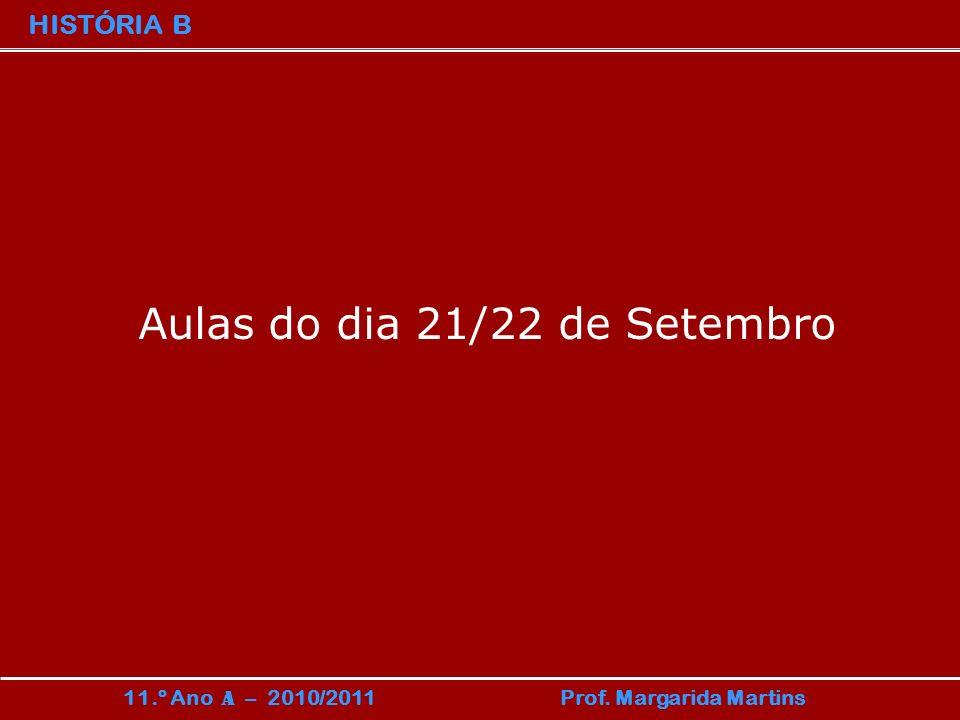 HISTÓRIA B 11.º Ano A – 2010/2011 Prof. Margarida Martins Aulas do dia 21/22 de Setembro