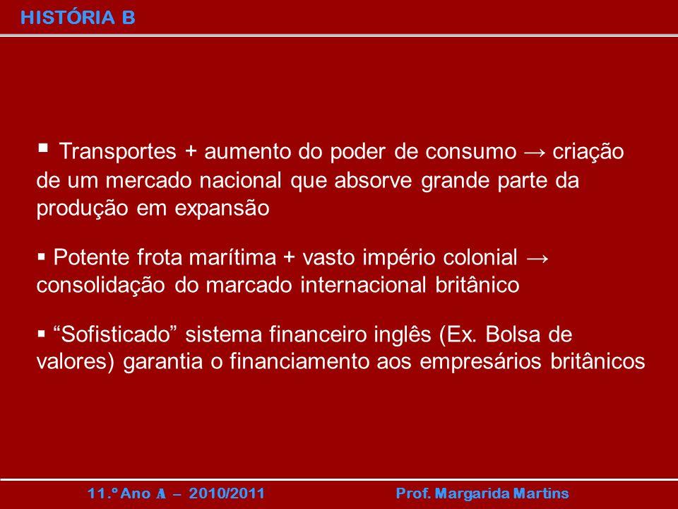 HISTÓRIA B 11.º Ano A – 2010/2011 Prof. Margarida Martins Transportes + aumento do poder de consumo criação de um mercado nacional que absorve grande