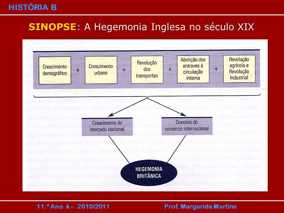 HISTÓRIA B 11.º Ano A – 2010/2011 Prof. Margarida Martins SINOPSE: A Hegemonia Inglesa no século XIX