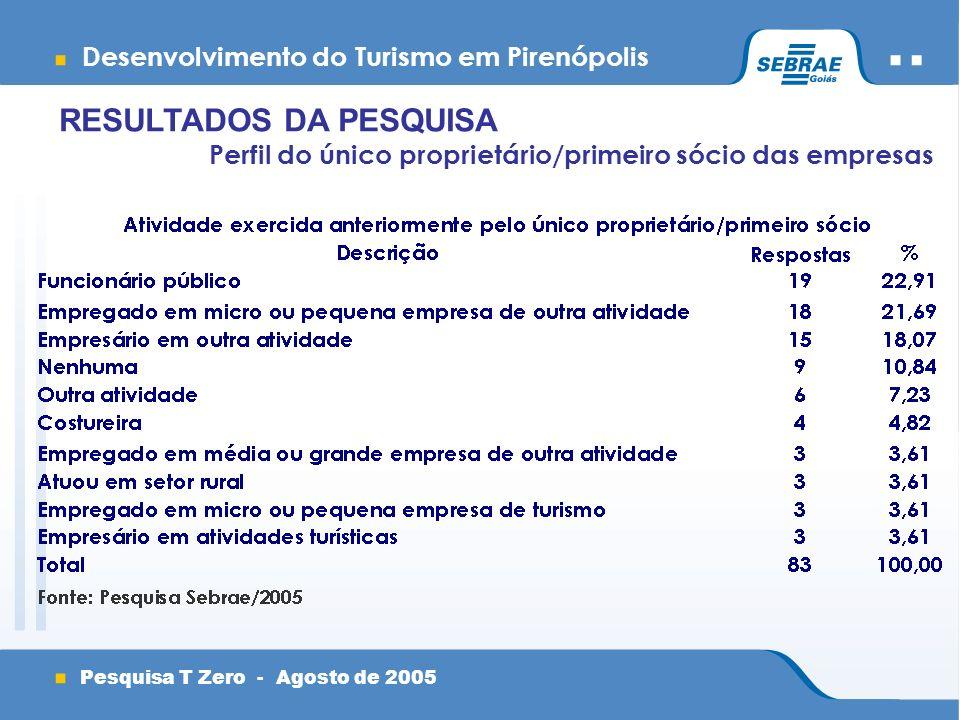 Desenvolvimento do Turismo em Pirenópolis Pesquisa T Zero - Agosto de 2005 Perfil do único proprietário/primeiro sócio das empresas RESULTADOS DA PESQUISA