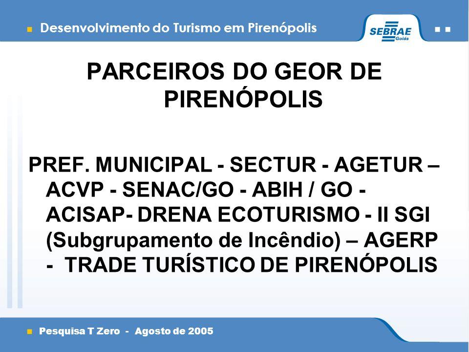 Desenvolvimento do Turismo em Pirenópolis Pesquisa T Zero - Agosto de 2005 PARCEIROS DO GEOR DE PIRENÓPOLIS PREF.