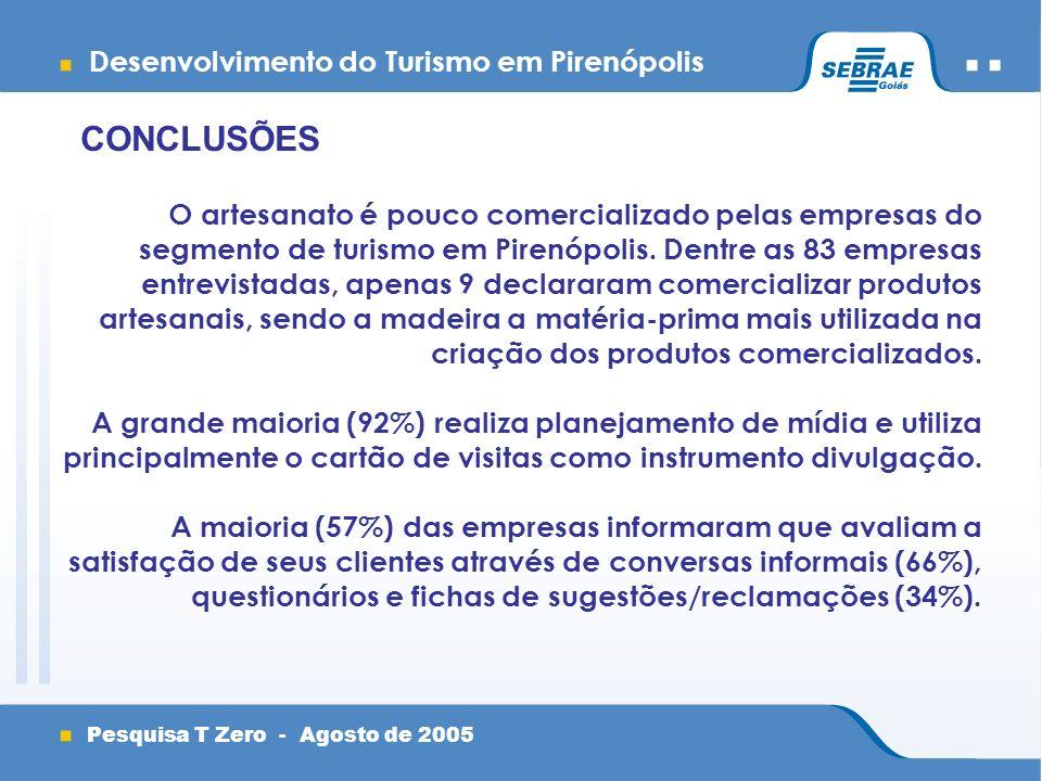 Desenvolvimento do Turismo em Pirenópolis Pesquisa T Zero - Agosto de 2005 CONCLUSÕES O artesanato é pouco comercializado pelas empresas do segmento de turismo em Pirenópolis.