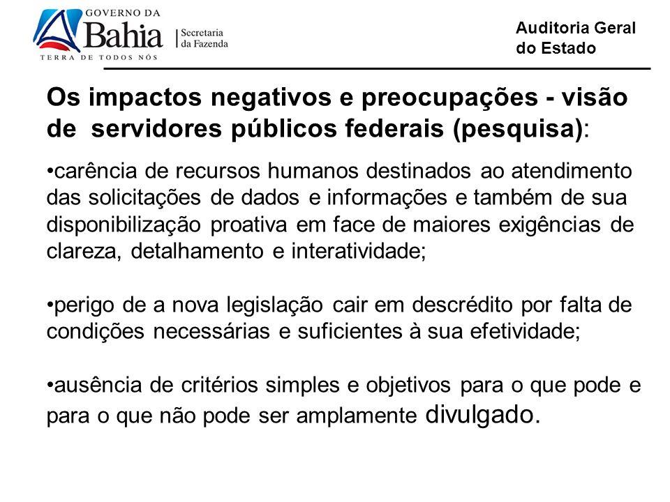 Auditoria Geral do Estado Os impactos negativos e preocupações - visão de servidores públicos federais (pesquisa): carência de recursos humanos destin
