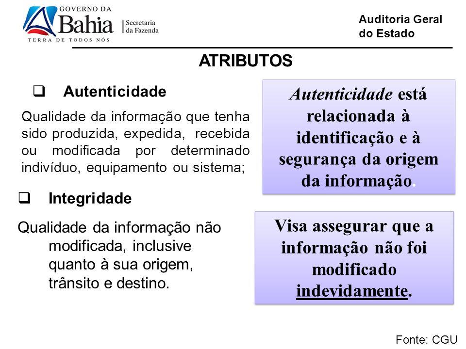 Auditoria Geral do Estado Fonte: CGU Autenticidade Qualidade da informação que tenha sido produzida, expedida, recebida ou modificada por determinado