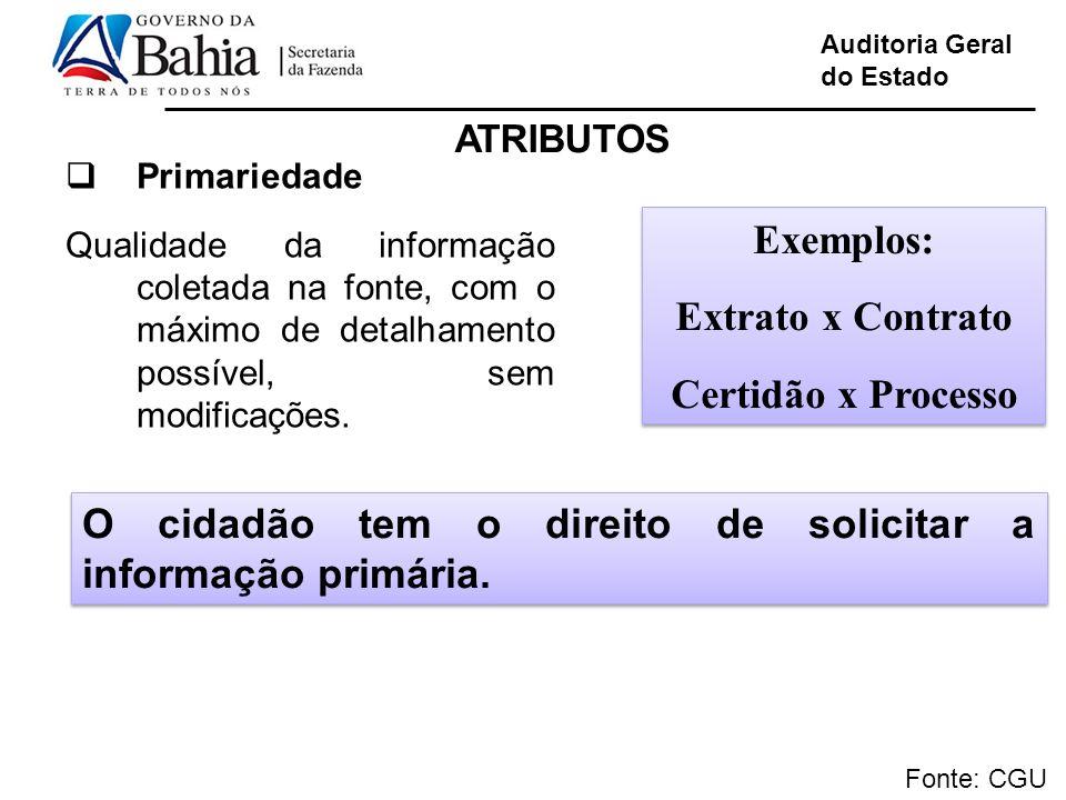 Auditoria Geral do Estado Fonte: CGU Primariedade Qualidade da informação coletada na fonte, com o máximo de detalhamento possível, sem modificações.