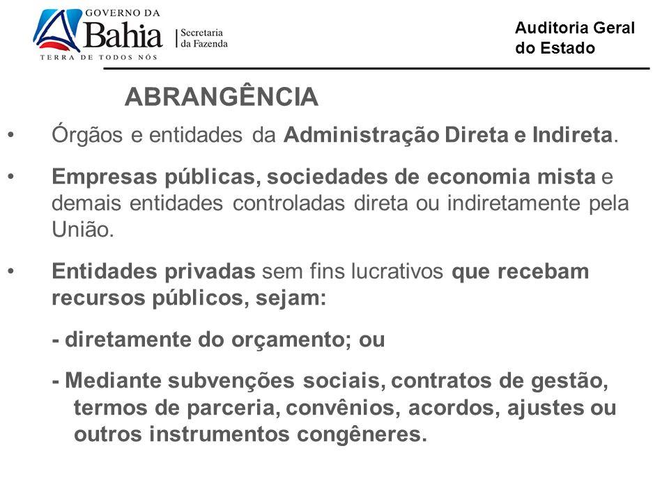 Auditoria Geral do Estado ABRANGÊNCIA Órgãos e entidades da Administração Direta e Indireta. Empresas públicas, sociedades de economia mista e demais
