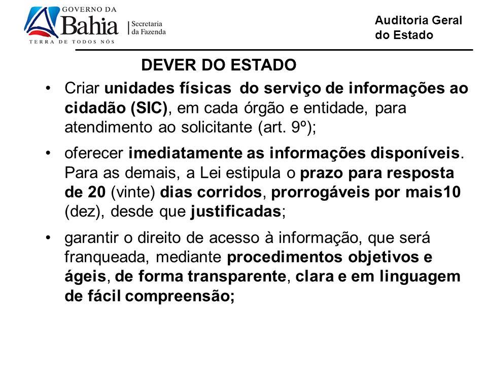 Auditoria Geral do Estado Linguagem de fácil compreensão Criar unidades físicas do serviço de informações ao cidadão (SIC), em cada órgão e entidade, para atendimento ao solicitante (art.