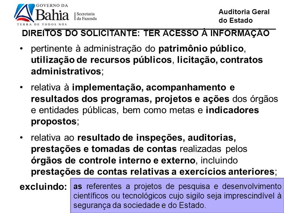 Auditoria Geral do Estado Linguagem de fácil compreensão pertinente à administração do patrimônio público, utilização de recursos públicos, licitação,