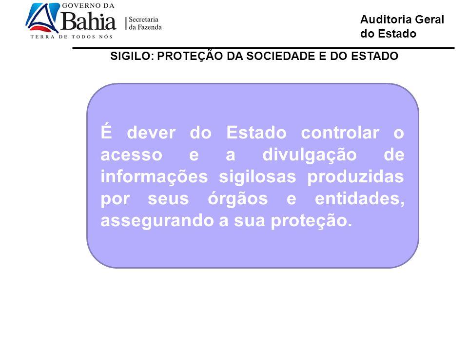 Auditoria Geral do Estado SIGILO: PROTEÇÃO DA SOCIEDADE E DO ESTADO É dever do Estado controlar o acesso e a divulgação de informações sigilosas produ