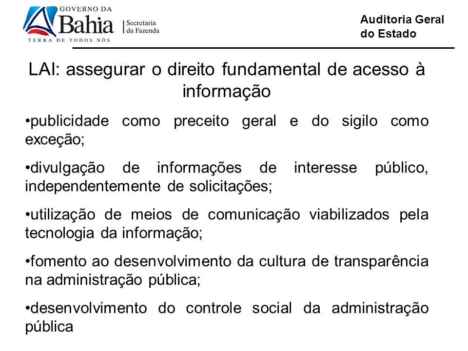 Auditoria Geral do Estado LAI: assegurar o direito fundamental de acesso à informação publicidade como preceito geral e do sigilo como exceção; divulg