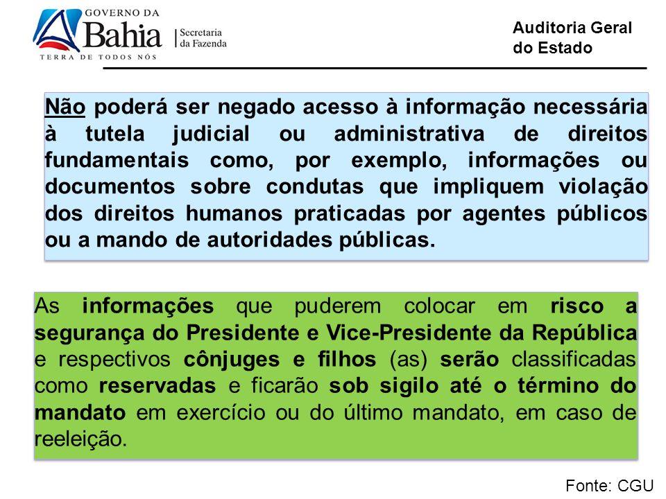 Auditoria Geral do Estado Fonte: CGU Não poderá ser negado acesso à informação necessária à tutela judicial ou administrativa de direitos fundamentais