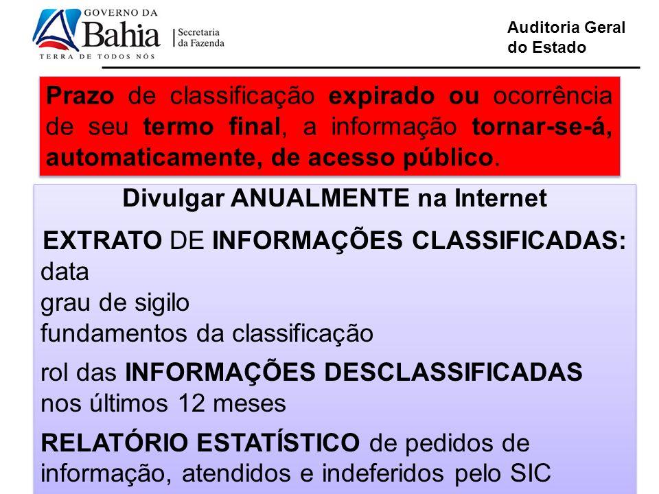 Auditoria Geral do Estado Prazo de classificação expirado ou ocorrência de seu termo final, a informação tornar-se-á, automaticamente, de acesso público.