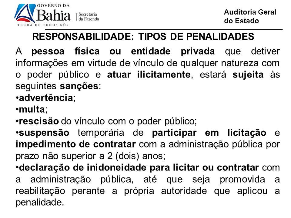 Auditoria Geral do Estado RESPONSABILIDADE: TIPOS DE PENALIDADES A pessoa física ou entidade privada que detiver informações em virtude de vínculo de