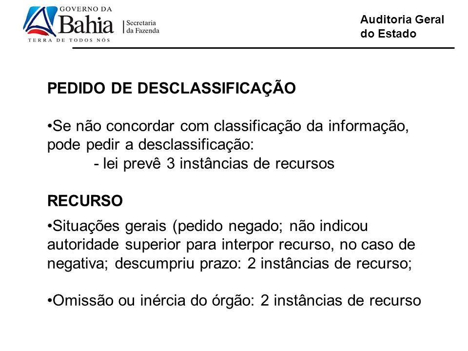 Auditoria Geral do Estado PEDIDO DE DESCLASSIFICAÇÃO Se não concordar com classificação da informação, pode pedir a desclassificação: - lei prevê 3 in