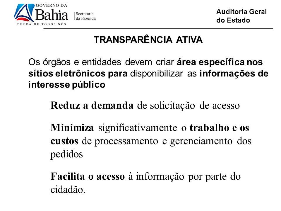 Auditoria Geral do Estado TRANSPARÊNCIA ATIVA Os órgãos e entidades devem criar área específica nos sítios eletrônicos para disponibilizar as informaç