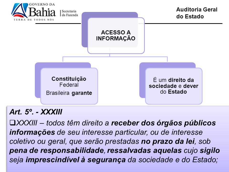 Auditoria Geral do Estado ACESSO A INFORMAÇÃO Constituição Federal Brasileira garante É um direito da sociedade e dever do Estado Art. 5º. - XXXIII XX