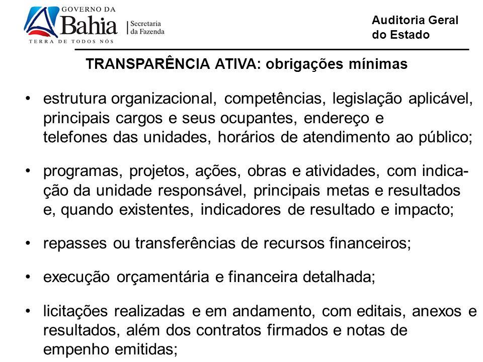 Auditoria Geral do Estado TRANSPARÊNCIA ATIVA: obrigações mínimas estrutura organizacional, competências, legislação aplicável, principais cargos e se