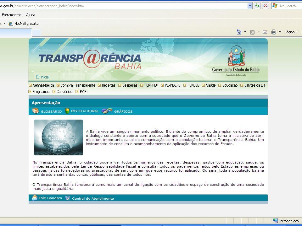 Auditoria Geral do Estado TRANSPARÊNCIA ATIVA Fonte: CGU PORTAL TRANSPARÊNCIA BAHIA