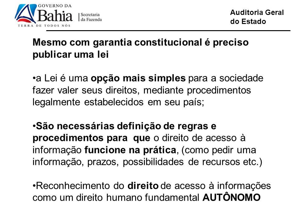 Auditoria Geral do Estado Mesmo com garantia constitucional é preciso publicar uma lei a Lei é uma opção mais simples para a sociedade fazer valer seu