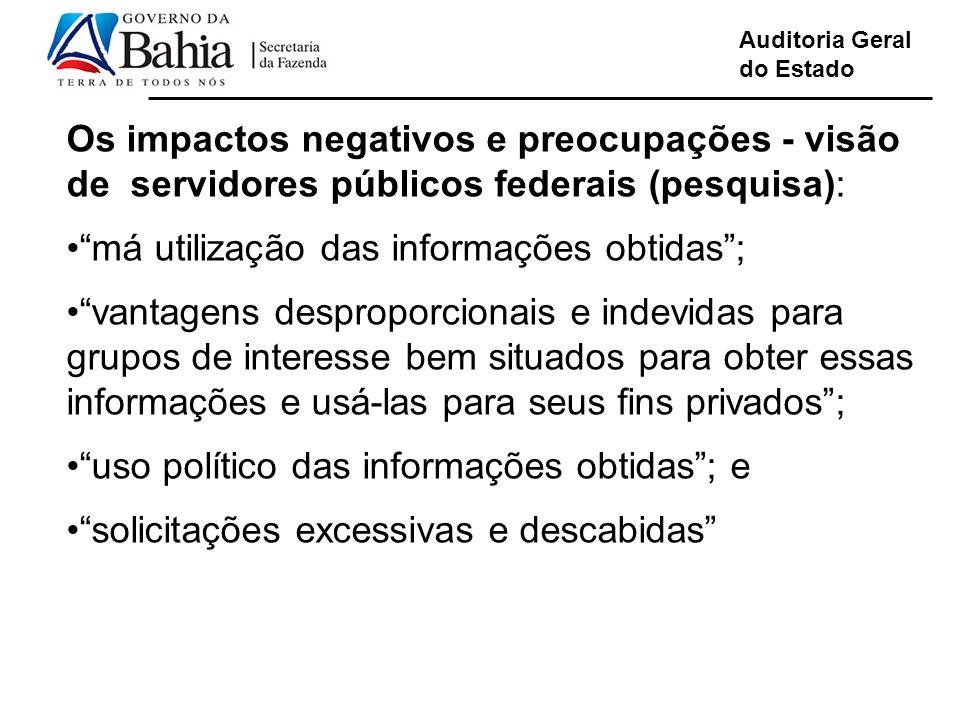 Auditoria Geral do Estado Os impactos negativos e preocupações - visão de servidores públicos federais (pesquisa): má utilização das informações obtid