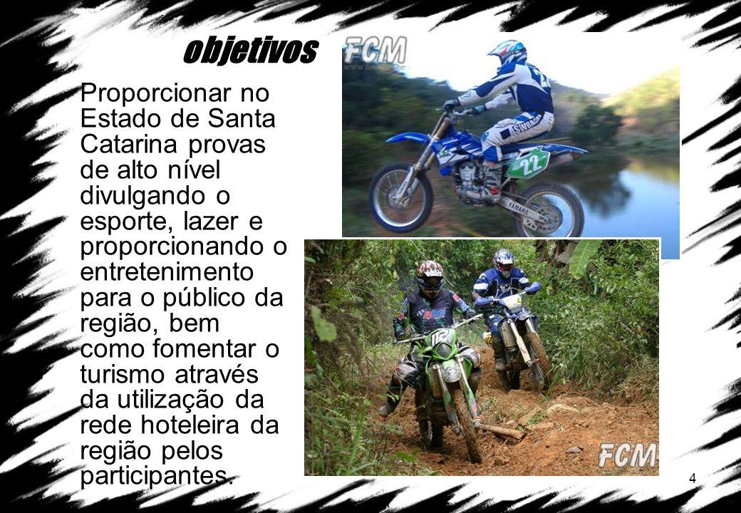 4 objetivos Proporcionar no Estado de Santa Catarina provas de alto nível divulgando o esporte, lazer e proporcionando o entretenimento para o público