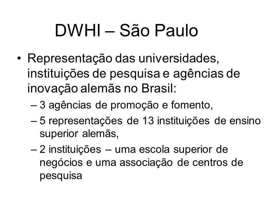 DWHI – São Paulo Representação das universidades, instituições de pesquisa e agências de inovação alemãs no Brasil: –3 agências de promoção e fomento, –5 representações de 13 instituições de ensino superior alemãs, –2 instituições – uma escola superior de negócios e uma associação de centros de pesquisa