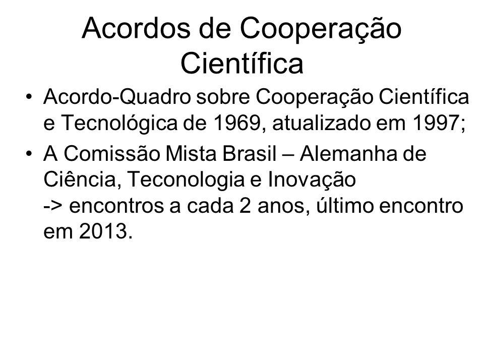 Acordo-Quadro sobre Cooperação Científica e Tecnológica de 1969, atualizado em 1997; A Comissão Mista Brasil – Alemanha de Ciência, Teconologia e Inovação -> encontros a cada 2 anos, último encontro em 2013.