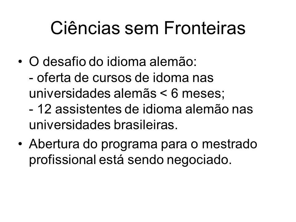 O desafio do idioma alemão: - oferta de cursos de idoma nas universidades alemãs < 6 meses; - 12 assistentes de idioma alemão nas universidades brasileiras.