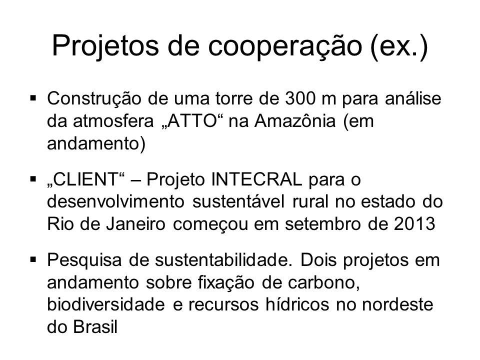Projetos de cooperação (ex.) Construção de uma torre de 300 m para análise da atmosfera ATTO na Amazônia (em andamento) CLIENT – Projeto INTECRAL para o desenvolvimento sustentável rural no estado do Rio de Janeiro começou em setembro de 2013 Pesquisa de sustentabilidade.