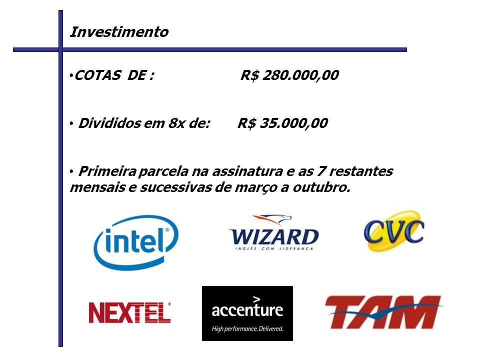 Investimento C COTAS DE : R$ 280.000,00 Divididos em 8x de: R$ 35.000,00 Primeira parcela na assinatura e as 7 restantes mensais e sucessivas de março a outubro.
