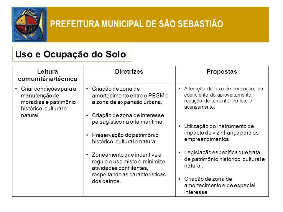 Uso e Ocupação do Solo PREFEITURA MUNICIPAL DE SÃO SEBASTIÃO Leitura comunitária/técnica DiretrizesPropostas Criar condições para a manutenção de mora