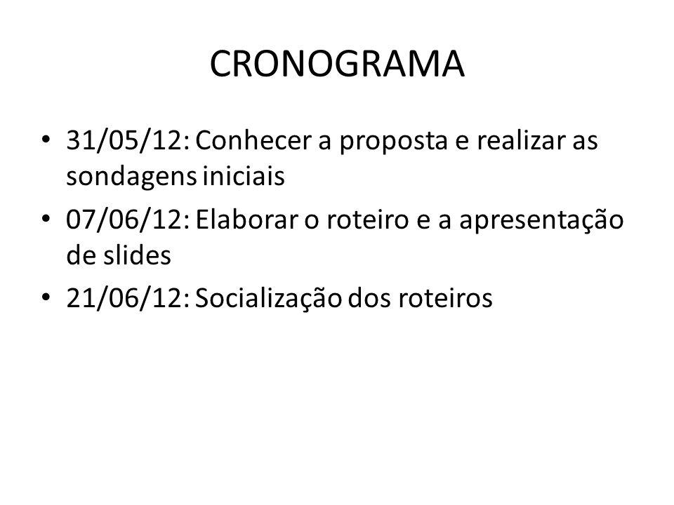CRONOGRAMA 31/05/12: Conhecer a proposta e realizar as sondagens iniciais 07/06/12: Elaborar o roteiro e a apresentação de slides 21/06/12: Socializaç