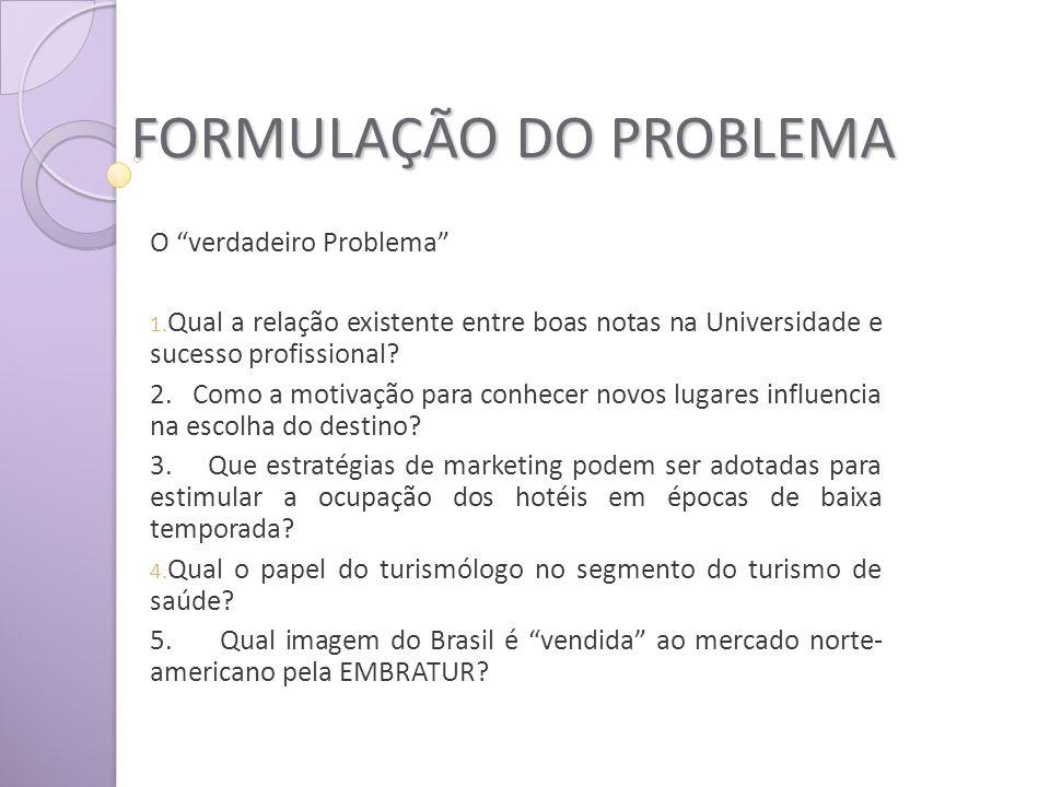 FORMULAÇÃO DO PROBLEMA O verdadeiro Problema 1.