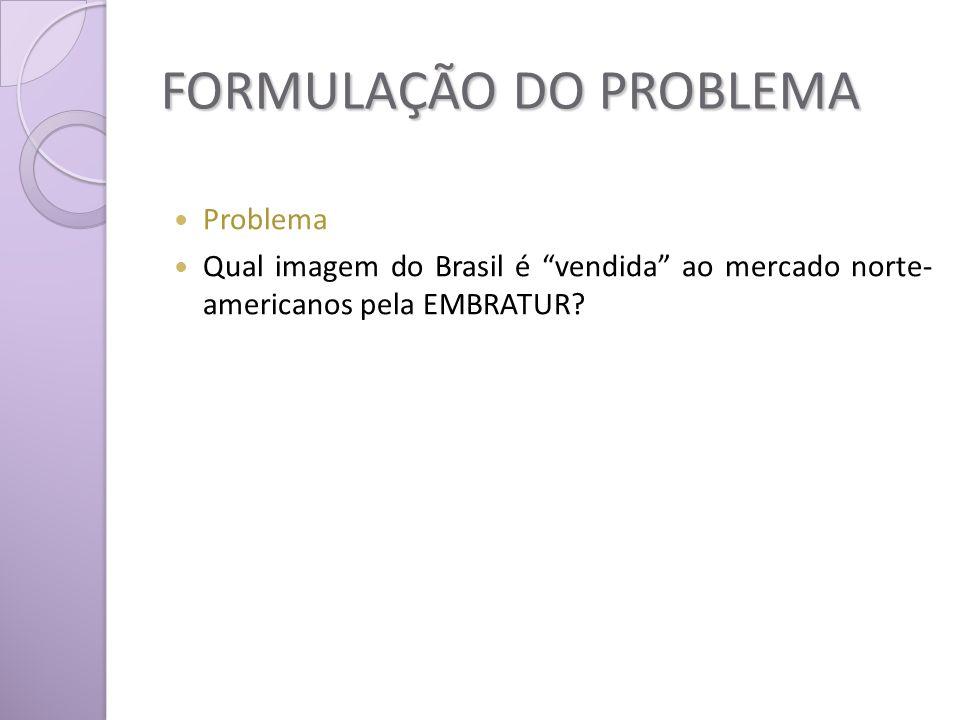 FORMULAÇÃO DO PROBLEMA Problema Qual imagem do Brasil é vendida ao mercado norte- americanos pela EMBRATUR?