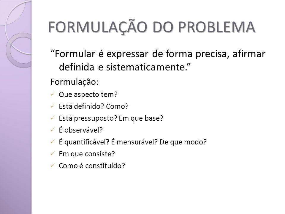FORMULAÇÃO DO PROBLEMA Formular é expressar de forma precisa, afirmar definida e sistematicamente.