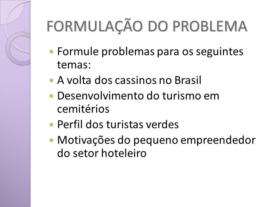 FORMULAÇÃO DO PROBLEMA Formule problemas para os seguintes temas: A volta dos cassinos no Brasil Desenvolvimento do turismo em cemitérios Perfil dos turistas verdes Motivações do pequeno empreendedor do setor hoteleiro