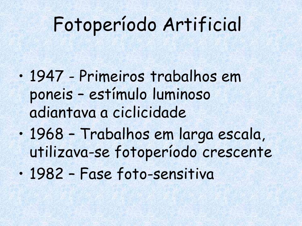 Fotoperíodo Artificial 1947 - Primeiros trabalhos em poneis – estímulo luminoso adiantava a ciclicidade 1968 – Trabalhos em larga escala, utilizava-se
