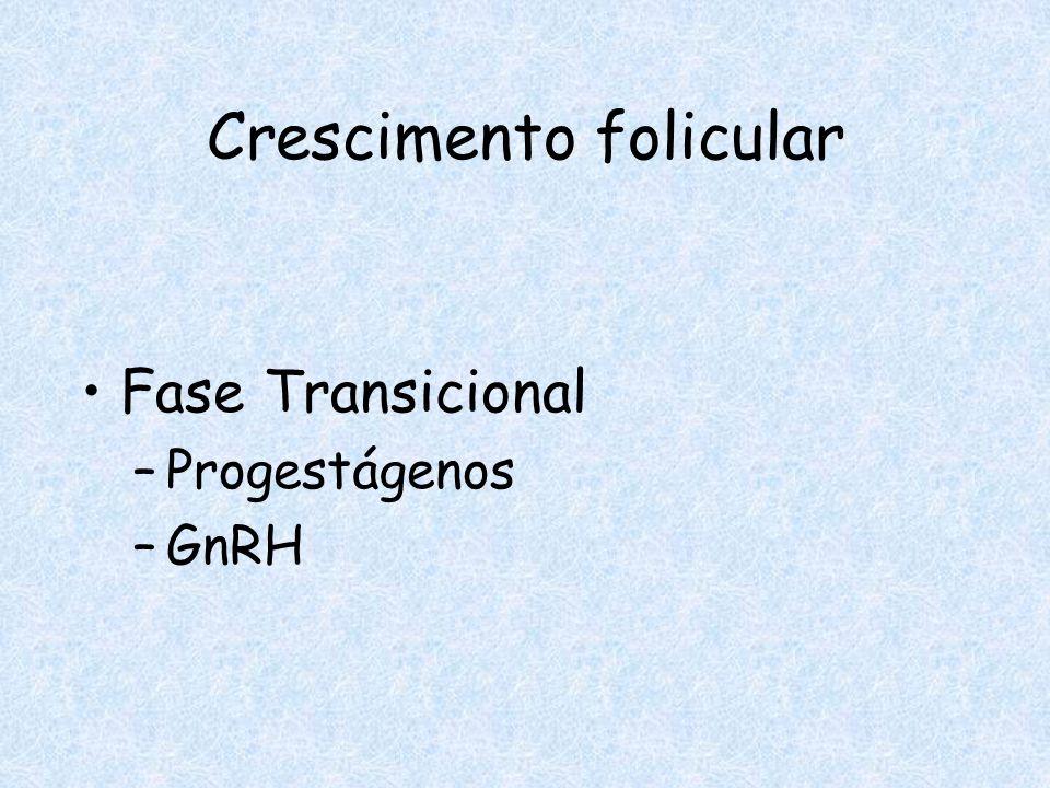 Crescimento folicular Fase Transicional –Progestágenos –GnRH