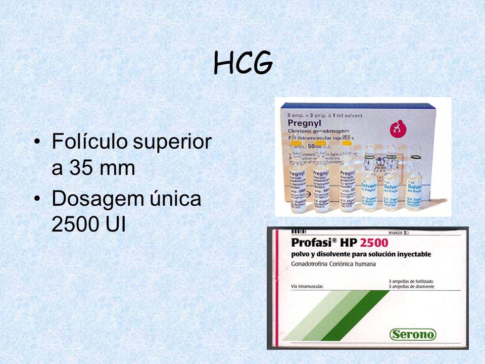 HCG Folículo superior a 35 mm Dosagem única 2500 UI