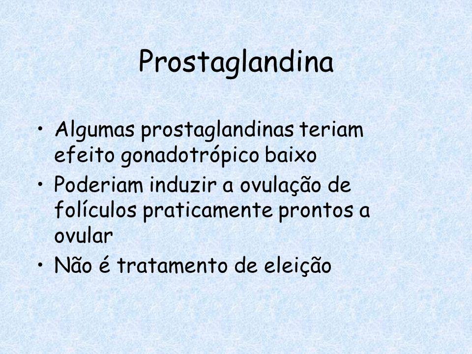 Prostaglandina Algumas prostaglandinas teriam efeito gonadotrópico baixo Poderiam induzir a ovulação de folículos praticamente prontos a ovular Não é