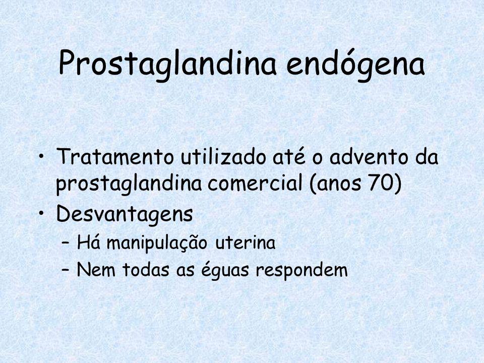 Tratamento utilizado até o advento da prostaglandina comercial (anos 70) Desvantagens –Há manipulação uterina –Nem todas as éguas respondem