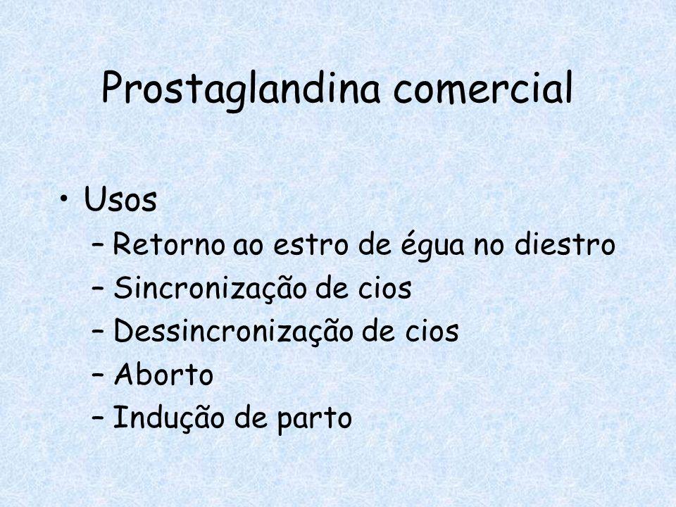 Prostaglandina comercial Usos –Retorno ao estro de égua no diestro –Sincronização de cios –Dessincronização de cios –Aborto –Indução de parto